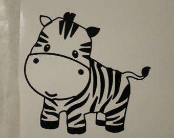 Cute Zebra Decal Any Size Any Colors