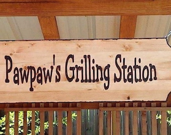 Custom Burnt Wood Sign. Carved and Burnt 12 inches  x 37 inches rustic wood sign / burnt edges, chain not included.