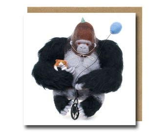 Birthday Card For Him, Gorilla Birthday Card, Boys Birthday Card, Funny Birthday Card, Party Invitation, Ape Card, Party Animals