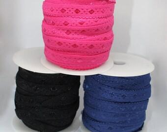 Soft picot edge fold over elastic with diamond satin detail. Hot Pink, Black, Navy Blue Elastic