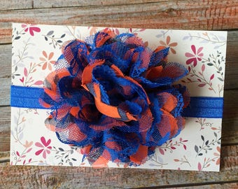Orange & Blue Headband/Florida Gator Headband/Denver Broncos Headband/Chicago Bears Headband/Football Headband/Baby Headband/Infant Headband