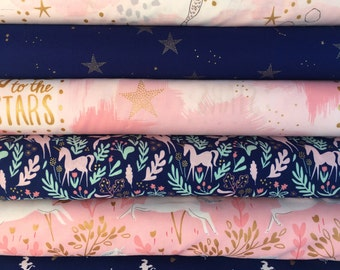 Navy and Pink Magic Bundle by Sarah Jane for Michael Miller Fabrics - 6 different fabrics