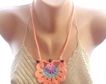 crochet lariat necklace, crochet scarf, , crochet flower scarf, crochet necklace, gift for her