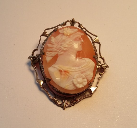 Custom Cameo Resin Pins Diy: Delicate Antique Hand Carved Shell Cameo Brooch
