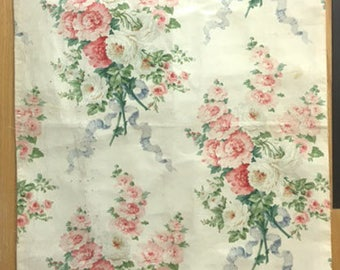 Antique 19th Century French Floral Cotton Chintz Fabric (2028)