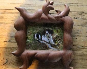 hand carved wood frame with natural grain #13