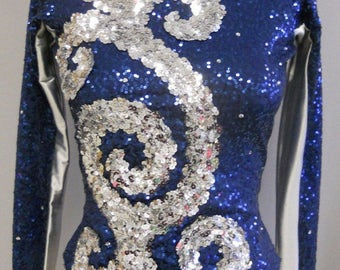Stunning Navy/Silver Sequin DANCE/SKATE TOP Adult-M