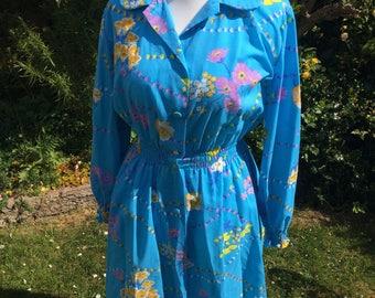 Vintage 1970s Floral Tea Dress Size 12
