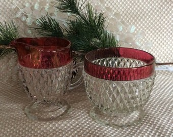 Vintage Indiana Glass Diamond Point or Tiara pattern creamer and sugar set