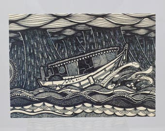Boat Birchwood Greeting Card