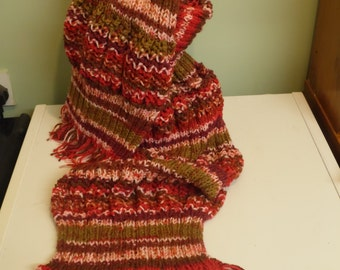 Knitted Mid Red Holey Scarf with Tassels