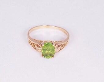 14K Yellow Gold Peridot Ring, size 7