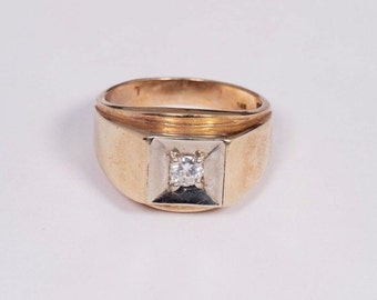 14K Yellow Gold Mens Diamond Ring, Size 10.5