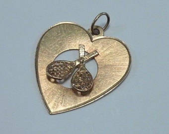 "14K Yellow Gold ""I Love Tennis"" Heart Shaped Pendant"