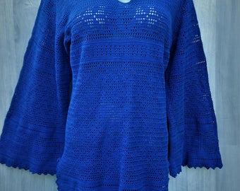 Vintage Crochet Tunic long sleeves, Ladies Tunics, Long Sleeve Summer Crochet cover ups, Crochet Beach mini dress, 70 style, crochet fashion