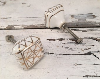 Knobs, Mid Century Modern Cubed Ceramic Knob, Hand Painted Drawer Pull, Gold & White, Cabinet Upgrade Knobs, Item #510880995