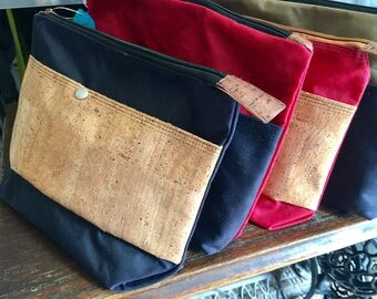 Waxed cotton shaving bag bag Cork