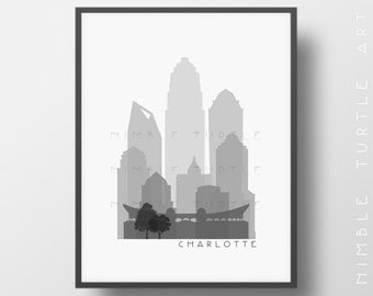 Charlotte Skyline Printable Download  -  Black and White  -  Grayscale - Charlotte North Carolina Gallery Wall Art