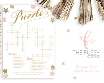 Crossword Puzzle Baby Shower Game, DIY Printable Game, Instant Download, Baby Shower Games, Printable Games, Pink and Gold Shower