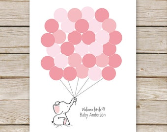 Pink Elephant Guest Book PRINTABLE for Baby Shower Birthday - Elephant Nursery Art, Thumbprint Guestbook - digital file