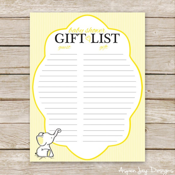 gift list printable download yellow neutral baby shower gift list