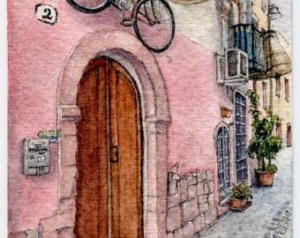 "ORIGINAL Ink and Watercolour Miniature Painting - ""Bosa Bike"" (Sardinia, Italy)"