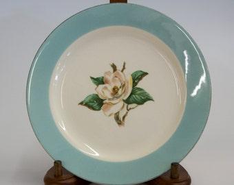 Lifetime China Homer Laughlin Magnolias Turquoise Dessert Bread Butter Plate