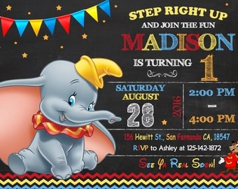 Dumbo Invitation Printable, Dumbo Birthday Party
