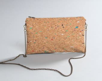 Cork bag, cork with colors bag, woman cork bag, cork clutch bag, cork handbag, cork purse, cork crossbody bag, cork shoulder bag, Lagut shop