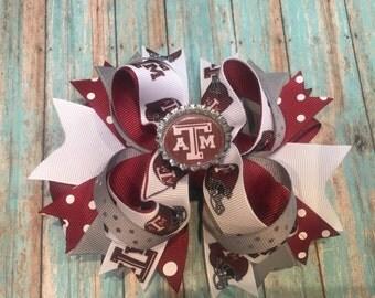 Texas A&M hair bow, Aggie hair bow, Texas A and M, stacked hair bow, girls hair bows, girl hair bow, aggies, boutique hair bow