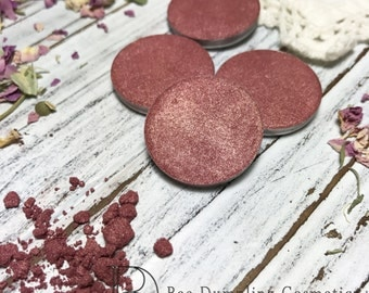 Victoria Eyeshadow Single-Vegan-Hand Pressed Eye Shadow-Eyeshadow-Single 26 mm-Organic Eyeshadow Single, Vegan Rose Gold Eyeshadow Single