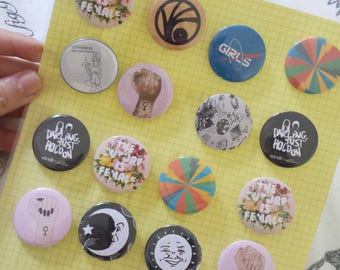 Seconds SALE* Button Pins | Feminist | Louis Tomlinson | Skam | A Series of Unfortunate Events | Rainbows | Floral | Ouija