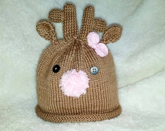 Reindeer Baby Hat - Knit Hat - Christmas Hat - Baby Hat - Winter Knit Hat