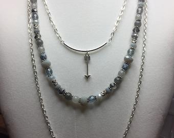 Silver triple chain arrow necklace