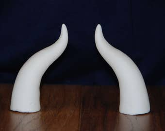 Small Curved Horn Set/ Small Curved Cosplay Horns/ Small Curved Costume Horns (raw cast/ unpainted)