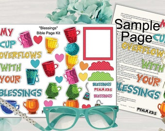 "Printable Bible Journaling Page Kit - ""Blessings"" - Complete kit for Bible Pages or Journals. Fits all Journaling Bibles."