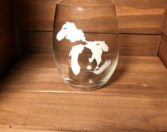 Great Lakes Michigan Stemless Wine Glass White