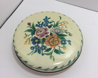 Vintage One Inch Small Floral Round Tin Cream