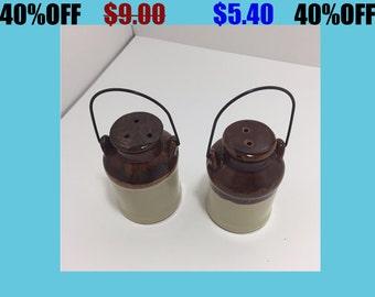 Vintage Milk Jug Pottery Ceramic Salt and Pepper Shakers
