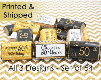 Happy 50th Birthday Party Decorations - 50th Birthday Gold & Black Party Favors - Cheers to 50 - 54 Stickers for Hershey's Miniature Bars