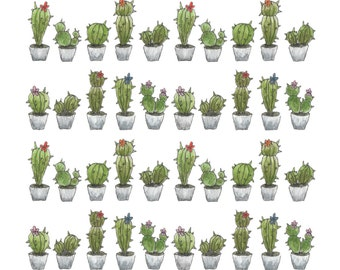Cactus pattern plant pot hand painted illustrated print