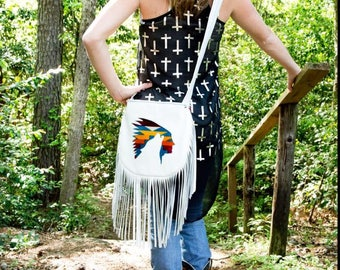 Custom white leather and pendleton reversible purse with indian and howling wolf cutout