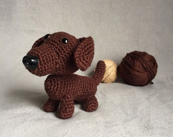 Miniature brown dachshund, crochet dachshund, amigurumi dog, brown dog, pet replica, made to order, doxie puppy, stuffed dog, tan dog,