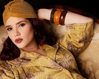 "Vintage style turban - The ""Lana"" - 1940s style lurex sparkle glitter turbans, glamorous pin up style - GOLD"