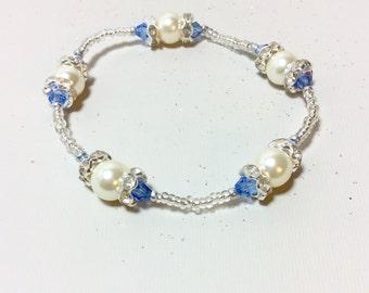 Pearl Jewelry, Pearl Bracelet, Beaded Bracelet, Swarovski Bracelet, Swarovski Jewelry, Swarovski Bead Bracelet, Seed Bead Bracelet, Blue