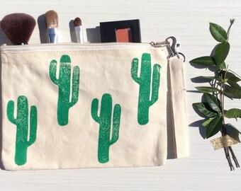 Green Cactus Wristlet