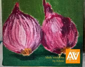 Red Onions | ORIGINAL ACRYLIC PAINTING on mini canvas | kitchen art