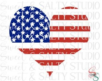 usa flag heart digital file
