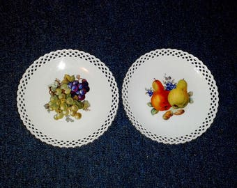 """2 SCHUMANN BAVARIA Reticulated / Pierced Collectible 7.5"""" Plates ~ Fruit Designs ~ Made in Germany"""
