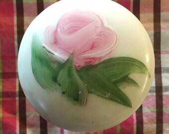Vintage White Porcelain Doorknob, Hand Painted Rose, Shabby